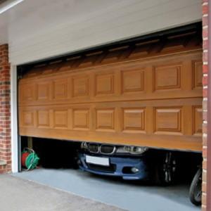 garage door with car inside